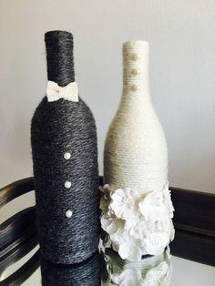 Bride and Groom Wine Bottles - Wedding Centerpiece - Newlyweds - Engagement Gift - Bridal Shower Gift - Wine Bottle Decor - Gift for Couple Bridal Shower Gifts For Bride, Wedding Gifts For Bride And Groom, Wedding Gifts For Couples, Bridal Shower Rustic, Bridal Gifts, Bridal Parties, Wine Bottle Centerpieces, Wedding Wine Bottles, Bridal Shower Centerpieces