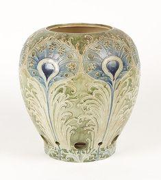 c. 1910 Art Nouveau, Morcroft, Art Pottery Lamp Base, Peacock Feather motif...
