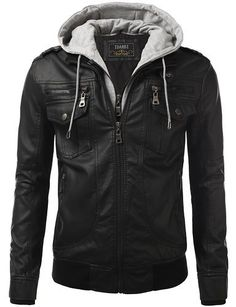 IDARBI Urban Knight Jacket with Detachable leather Hood Bomber jackets provides plenty of pockets with both snap button and zipper closure for utility and style. Made in USA or Imported Zipper clos…