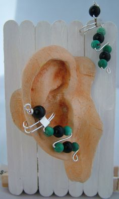 Obsidian and Turquoise Ear Cuffs. $20.00, via Etsy.