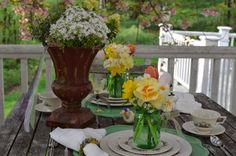 More Fun Less Laundry: Lenox Rutledge: Something Old, Something New. Ball Jar Bouquets married with vintage dishes and a beautiful garden setting!
