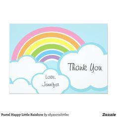 Pequeño arco iris feliz en colores pastel invitación 12,7 x 17,8 cm