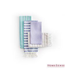 Be bold with colours, textures, and patterns for a variety of tea towels you won't mind displaying! #MyHomeSense // Mélangez les couleurs, les textures et les motifs et exposez fièrement vos linges de table! #MonHomeSense