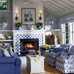 lovely blue and white living room love the checks on the fireplace Cottage Living, My Living Room, Cottage Chic, Cottage Style, Country Living, Living Area, Cottage House, Coastal Living, Coastal Decor
