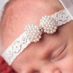 Baby Girls Newborn Infant Lace Pearl Mini Bow Headband Lace Diamond Hairband With Hair Bow Kids Boutique Hair Accessories