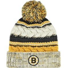 CCM Women's Boston Bruins Black/Gold Cuffed Knit Pom Beanie - Dick's Sporting Goods