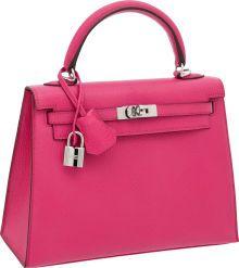 "Luxury Accessories:Bags, Hermes 25cm Rose Shocking Chevre Leather Rigid Kelly Bag withPalladium Hardware, 9.5"" x 7"" x 3.5"", Pristine Condition. ..."