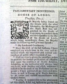 Historic Newspaper in which the king proclaims America independent:  THE LONDON CHRONICLE, December 7, 1782.
