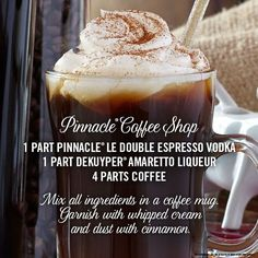 Pinnacle® Vodka has over 40 unique flavors to discover, enjoy, and cozy up with. Try the Pinnacle® Coffee Shop cocktail!