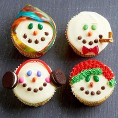 Bundle your snowy cupcake friends in cozy winter wear using frostings, sprinkles, candies, and other Christmas snacks! http://www.bhg.com/christmas/recipes/christmas-sweets/?socsrc=bhgpin122414holidaysnowmantoppers&page=21