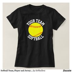 Softball Team, Player and Jersey Number T-shirt #softball #softballplayer #softballteam #softballshirts