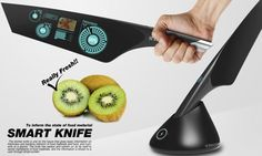 Smart Knife by Jeon Chang Dae for Electrolux Design Lab, a knife that can check levels of harmful bacteria, pesticides and nutrients such as sugar, vitamins, protein and fat in the food it cuts. It also emits negative ions to help keep the food fresh.