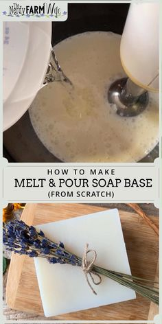 Learn how to make your own DIY soap base from scratch using natural ingredients! soap from scratch How to Make Homemade Melt & Pour Soap Base Handmade Soap Recipes, Soap Making Recipes, Handmade Soaps, Soap Making Kits, Diy Soaps, Handmade Headbands, Handmade Crafts, Handmade Rugs, Diy Soap Base