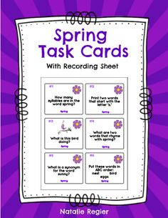 Spring Task Cards - The Spring Task Cards package contains 24 task cards and a recording sheet. Students look at each task and record their response on the recording sheet. Questions focus on a variety of skills including compound words, rhyming, ABC order, writing sentences, prefixes, plurals, etc. #teachersherpa