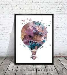 Hot Air Balloon 3 Watercolor Print Children's by WatercolorBook, $15.00