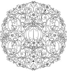 Creative Haven Wonderous Nature Mandalas: A Coloring Book with a Hidden Picture Twist | FREE Printable Page | Pumpkin Vines | Autumn | Fall | Halloween | Dover Publications Free Sample | Adult Coloring
