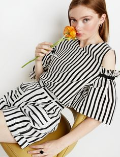 Striped Cut Out Shoulder Top #stripe #spring #fashion #pixiemarket