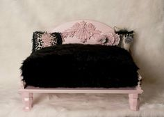 Pink & black pet bed