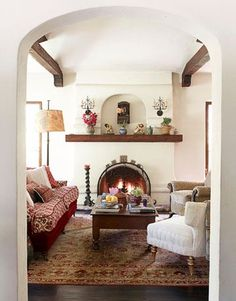 Classically Spanish Hearth and fireplace mantel with gorgeous blue ...