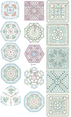 Easy to make crochet granny square pattern. Free crochet chart by Color'n creamColor 'n Cream Crochet and Dream: New Flower Squarecrochê passo a passo ( Crochet Motif Patterns, Granny Square Crochet Pattern, Crochet Diagram, Crochet Chart, Crochet Squares, Crochet Designs, Knitting Patterns, Crochet Stitches, Crochet Granny