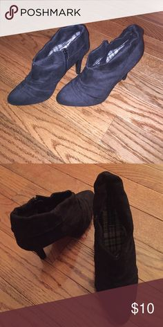Charlotte Russe Booties Black booties. First pic is with flash. Never worn but had for a while. Charlotte Russe Shoes Ankle Boots & Booties