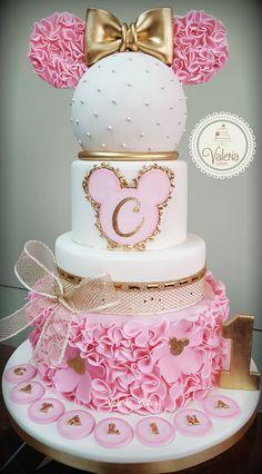 Minnie Mouse Birthday Decorations, Minnie Mouse First Birthday, Minnie Mouse Baby Shower, Baby Birthday Cakes, Bolo Minnie, Minnie Mouse Cake, Bolo Barbie, Cupcakes Decorados, Disney Cakes