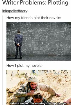 How most people plot their novels. Writing Humor, Book Writing Tips, Writing Prompts, Writing Ideas, Writer Memes, Book Memes, Book Quotes, Writing Problems, Book Fandoms