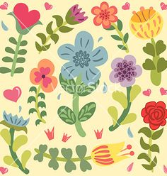 Cute doodle hand drawn flowers set vector - by MoonGuitar on VectorStock®