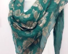 Birthday Gift for Mother, Emerald Green Silk shawl, Festive Colorful Sarong, Best friend gift, Gift for coworker, Green Scarf 38x38 by blingscarves. Explore more products on http://blingscarves.etsy.com