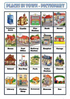 PLACES IN TOWN worksheet - Free ESL printable worksheets made by teachers