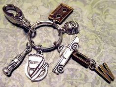 $19.00 SUPERNATURAL Dean Winchester Keychain with SEVEN Charms - Custom Orders Welcome