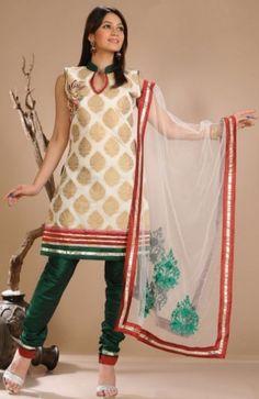 Praisable Brocade Designer Churidar Kameez Set