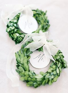 Wreaths for backs of bride and groom chairs