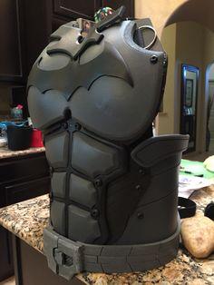 Work in progress chest piece batman arkham origins cosplay Batman Arkham Origins homemade costume cosplay DIY eva foam