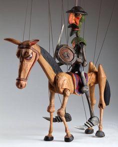 foto: Don Quichotte Czech Marionette Puppet Toys, Marionette Puppet, Puppet Show, Doll Toys, Wooden Puppet, Wooden Dolls, Living Puppets, Dom Quixote, Plastic Art