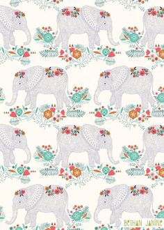 Are We There Yet Wallpaper Elephants Animals Wallpapers) – HD Wallpapers Elephant Fabric, Elephant Pattern, Elephant Love, Elephant Art, Elephant Nursery, Elephant Illustration, Pattern Illustration, Indian Patterns, Textile Patterns