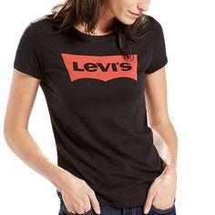Women's Levi's Batwing Logo Tee, Size: Medium, Black