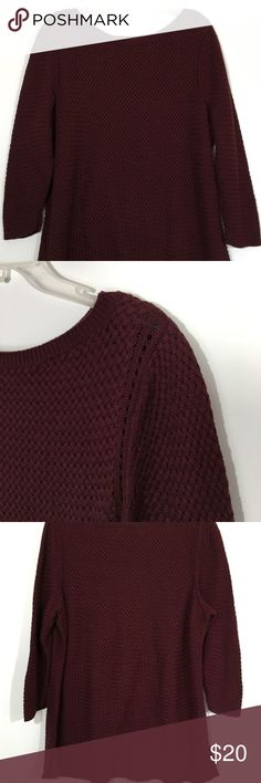"""Talbots Dark Red Pullover Sweater Beautiful sweater is in excellent used condition with no stains or pulls. Deep dark red color. Measures about 25"""" across flat lay from armpit to armpit and about 30"""" long.  Has good stretch - see photo for fabric content. Please ask questions and check out bundling to save. Talbots Sweaters Crew & Scoop Necks"""