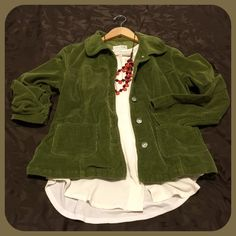 "Live a Little ✨ Green Cord Jacket Beautiful green cord jacket from Zulily. Love it, but never wear it. Excellent condition. Sized PETITE Medium - I'm not sure the petite matters. Here are measurements: 21"" long. Sleeves 21"" long. 35"" bust fully buttoned. Has stretch - 97% cotton, 3% spandex. Live a Little Jackets & Coats"