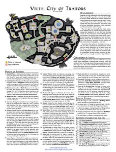 """""""City of Traitors"""", by Corwin Riddle: """"Best Lost City"""", 2010 One Page Dungeon context organized by Alex Schroeder"""