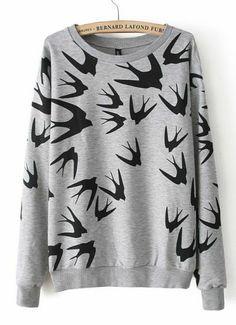 Grey Long Sleeve Swallow Print Loose Sweatshirt - Sheinside.com Mobile Site