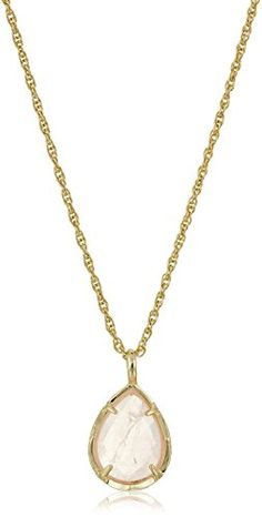 Gold-tone necklace featuring teardrop-shape pendant with faceted faux stone in four-prong setting. Lobster-claw clasp with extender.