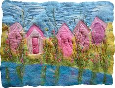 https://flic.kr/p/9zfmPh | Wet Felt and Stitch - Beach Huts | 5 cheerful little beach huts inspired by Hengistbury Head in Christchurch, Dorset. Made with the wet felting technique (with yarn and dyed scrim inclusions), then machine stitched to add a little detail.