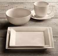 Chinese Porcelain Square Rimmed 20-Piece Dinnerware Set with Cereal Bowl