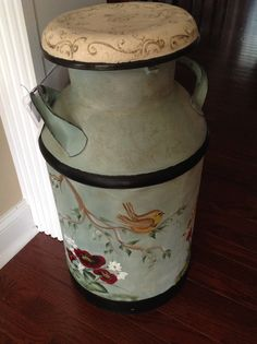 Hand painted vintage milk can. 1923-1962.  Taylor Falls Cry, Taylor Falls MN