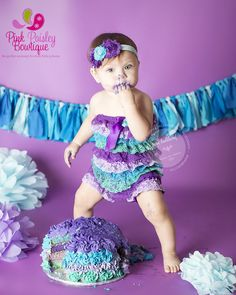 Cake Smash Outfit, 1st Birthday Outfit, Baby girl 1st Birthday Outfit, Lace Romper Petti Romper 3 pc SET Purple & by Pinkpaisleybowtique, $39.99