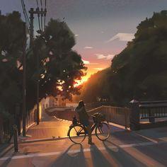 Sunset by Atey Ghailan. Anime Art Girl, Manga Art, Aesthetic Art, Aesthetic Anime, Anime City, Concept Art World, Japon Illustration, Anime Scenery Wallpaper, Totoro