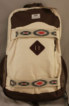 """Vans """"Off the Wall"""" tan & brown backpack with skateboard straps"""