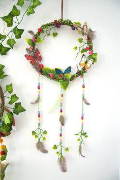 Dreamcatcher, Butterfly dreamcatcher, hippie Decor, Colourful dream Catcher, Nursery Decor, Wall Hanging, PinkStarLove 'Butterfly Tea Party' by pinkstarlove on Etsy