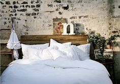 love the exposed brick wall and white bedding.throw in some pops of color and you'd have perfection! White Bedding, White Bedroom, Dream Bedroom, Bedroom Wall, Bedroom Decor, White Linens, Wall Headboard, Wall Decor, Brick Bedroom